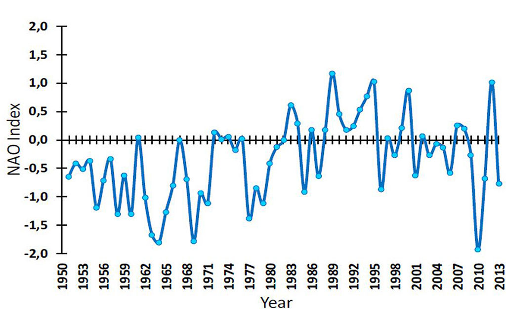 Figure 4.2.1. Winter North Atlantic Oscillation (NAO) index during 1951–2013.