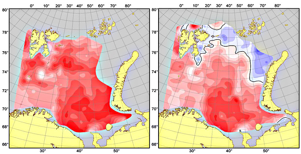 Figure 4.2.6. Surface temperature anomalies in the Barents Sea in August–October