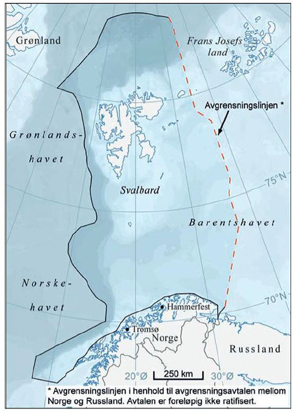 Figure 6.4.1. Management plan area of the Barents Sea and the waters off Lofoten. Source: The updating of the management plan for the marine environment in the Barents Sea and the waters off the Lofoten Islands ((Report No. 10 (2010–2011) to the Storting). Cartography: Norwegian Polar Institute 2011. Source for depth data: IBCAO.