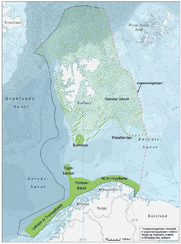 Figure 6.4.2. Especially valuable and vulnerable areas in the Barents Sea-Lofoten (green areas). Source: The updating of the management plan for the marine environment in the Barents Sea and the waters off the Lofoten Islands ((Report No. 10 (2010–2011) to the Storting). Cartography: Norwegian Polar Institute 2011. Source for depth data: IBCAO.
