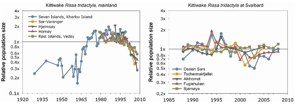 Figure 4.3.58b. Trends in some seabird species monitored in the Barents Sea. Source: The Seabird Colony Registry of the Barents and White Seas and the Norwegian Institute for Nature Research.
