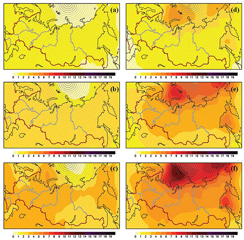 Figure 5.1.5. The mean anomalies of the surface air temperature for 2011–2030 (а, d), 2041–2060 (b, e) and 2080–2099 (c, f) by the end of the 21st Century for summer (а, b, c) and winter (e, f, g). The simulations were based on an ensemble of 31