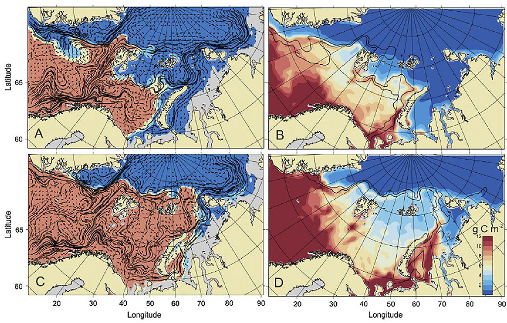 Figure 5.1.7. The average position of the Polar Front in April.  The