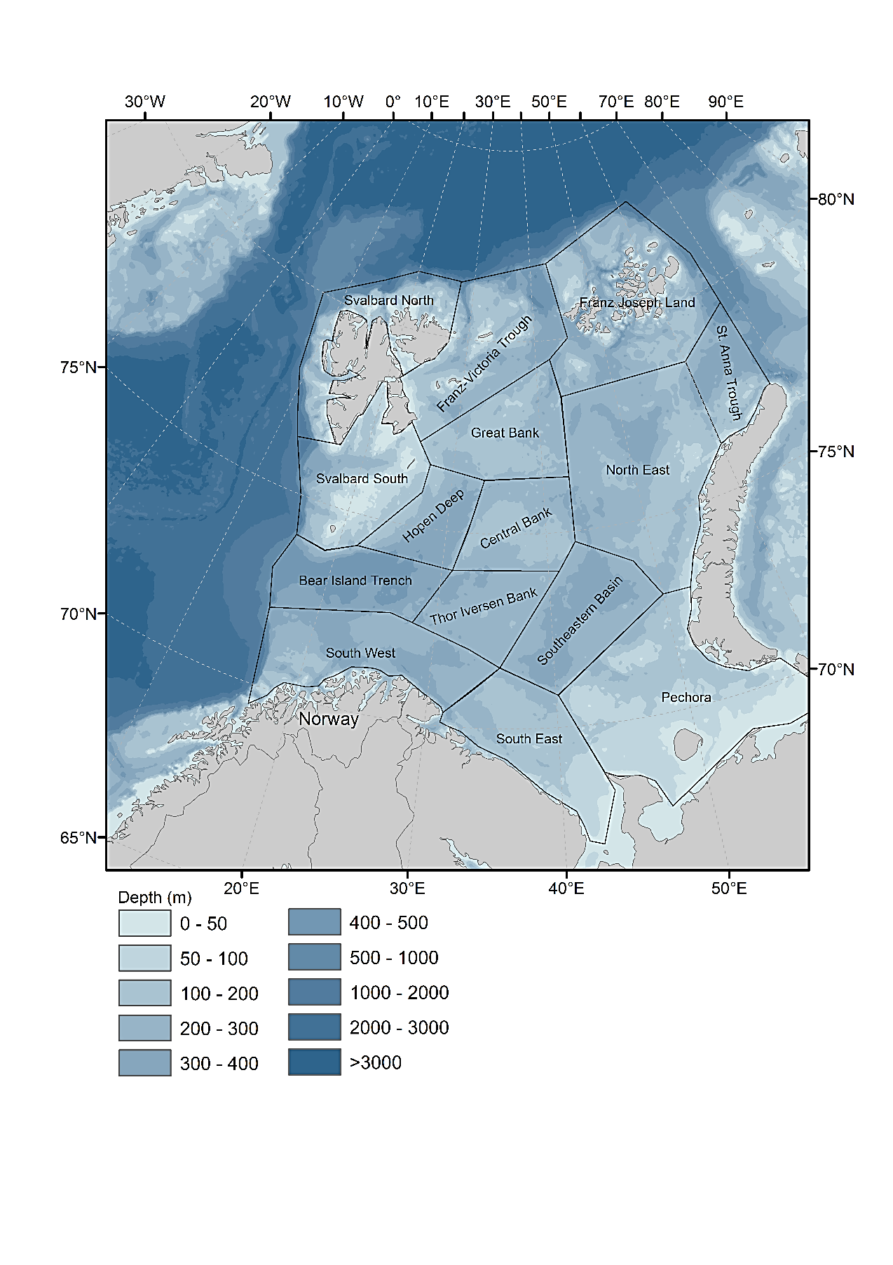 Figure 2.1.1. Map showing subdivision of the Barents Sea into 15 subareas (regions) used to calculate mean values and time-trends data from Barents Sea surveys.