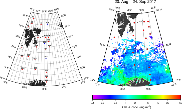Figure 3.2.2. Left: Locations and station numbers for analysed phytoplankton samples obtained from the BESS between the 4th of September and the 3rd of October.  Red dots indicate that only 10 m samples were analysed; blues dots indicate that both 10 m and 50 m samples were analysed, except for station 912 for which the 10 m sample was missing. Right: Mean surface chlorophyll concentration derived from daily MODIS satellite imagery for the September 4th to October 4th, 2018 period. Survey station locations are shown as red dots; white indicates regions of missing satellite data.