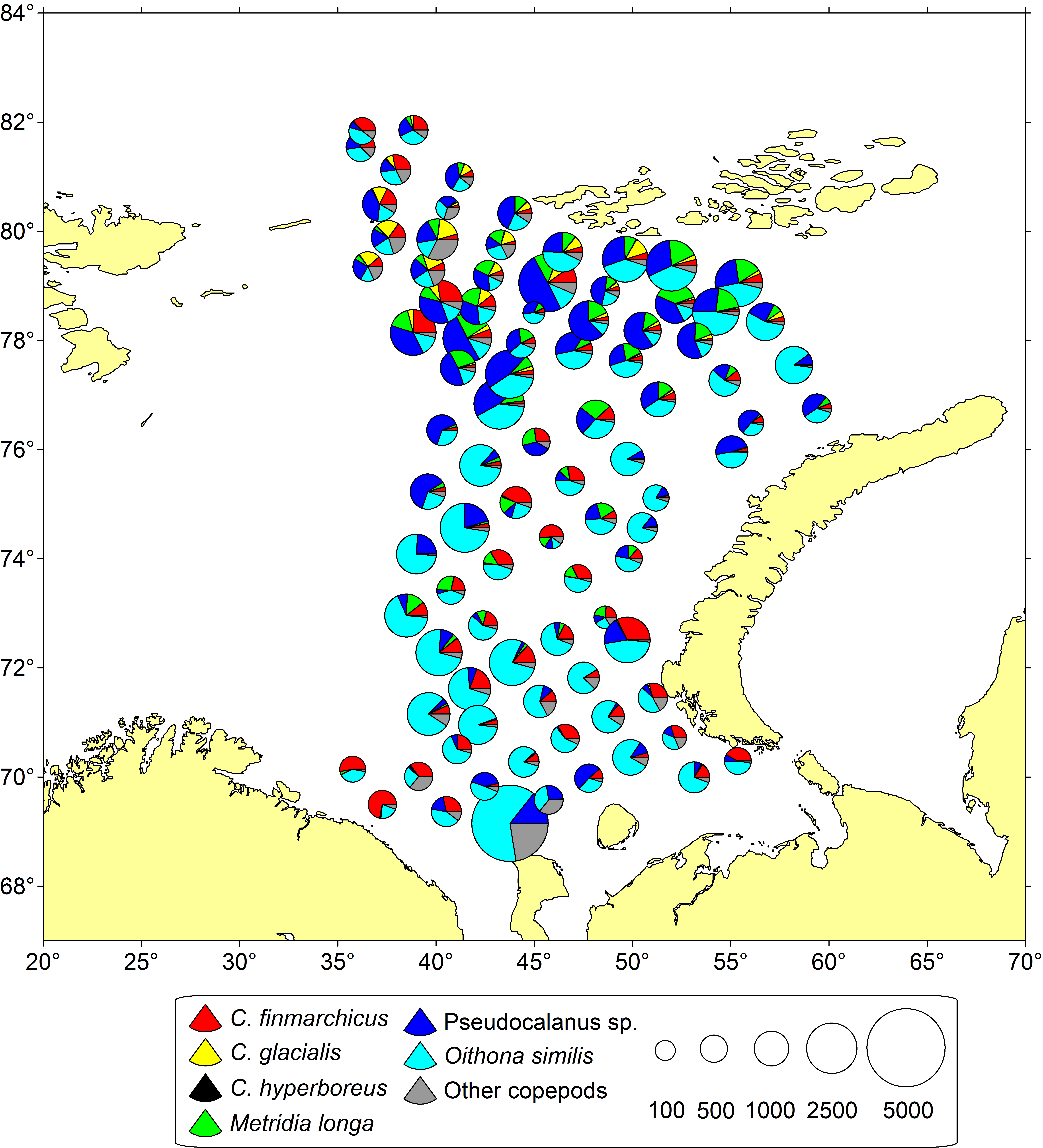 Figure 3.3.7. Abundance (ind. m-3) of the most numerous copepod species (surface to sea floor) in the Barents Sea (based on the PINRO samples from the BESS during August-September of 2017).