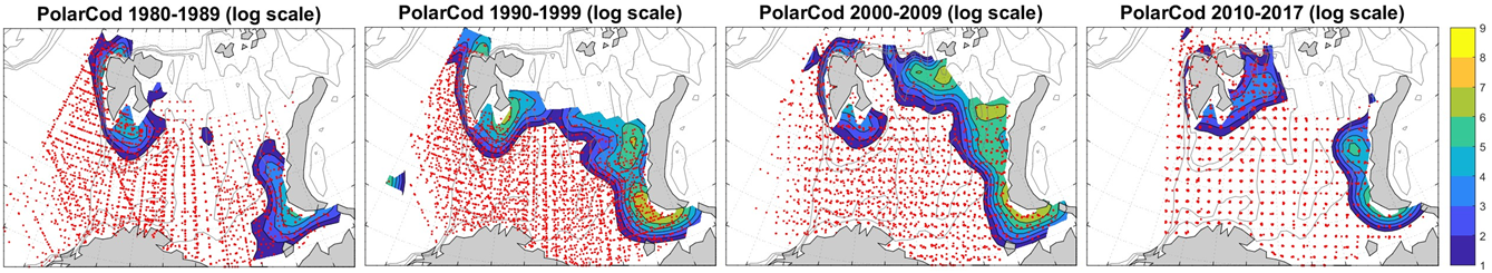 Figure 3.5.19. Distribution of 0-group polar cod abundance in the Barents Sea during the 1980s, 1990s, 2000s, and 2010s. Abundance estimates were log-transformed (natural logarithms) before mapping. Fish density varied from low (blue) to high (yellow). Red dots indicated sampling locations. The map is from Eriksen et al (Progress in Oceanography, under revision).