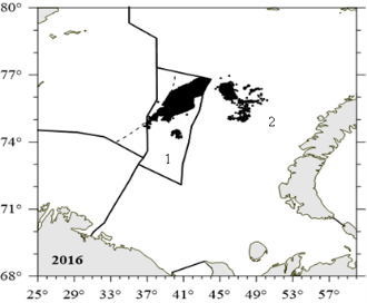 Figure 3.9.2.7. Russian fishery of the snow crab location in the Barents Sea in the international waters in 2013-2016 (1) and nationality waters in 2016 (2) (Bakanev and Pavlov, 2017).