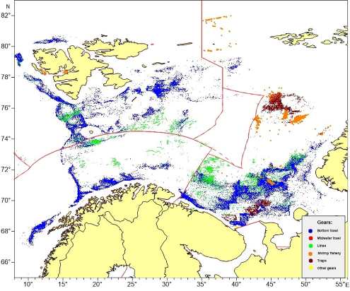 Figure 3.9.4.1. Location of Russian and foreign fishing activity from commercial fleets and fishing vessels used for research purposes in 2017 as reported (VMS) to Russian authorities. These are VMS data linked with logbook data (source: PINRO Fishery statistics database).