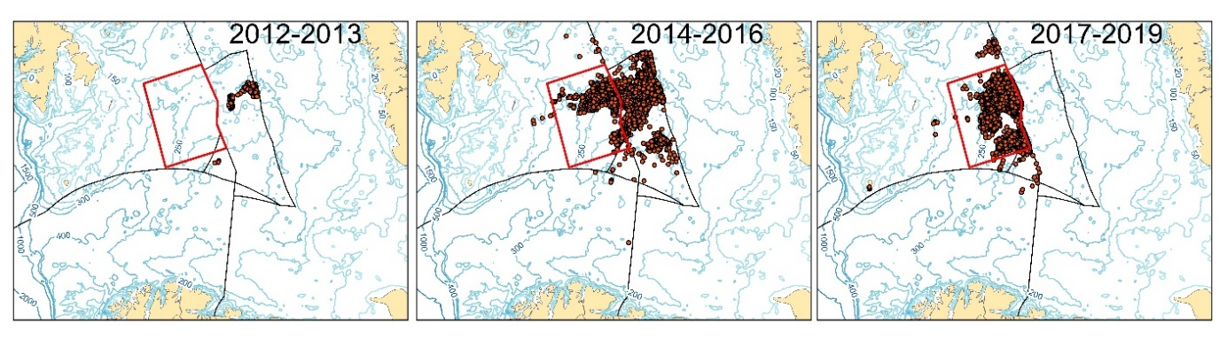 Figure 3.9.2.8. Fisheries activity in the Barents Sea by Norwegian vessels in three periods, 2012-2013, 2014-2016 and 2017-2019.