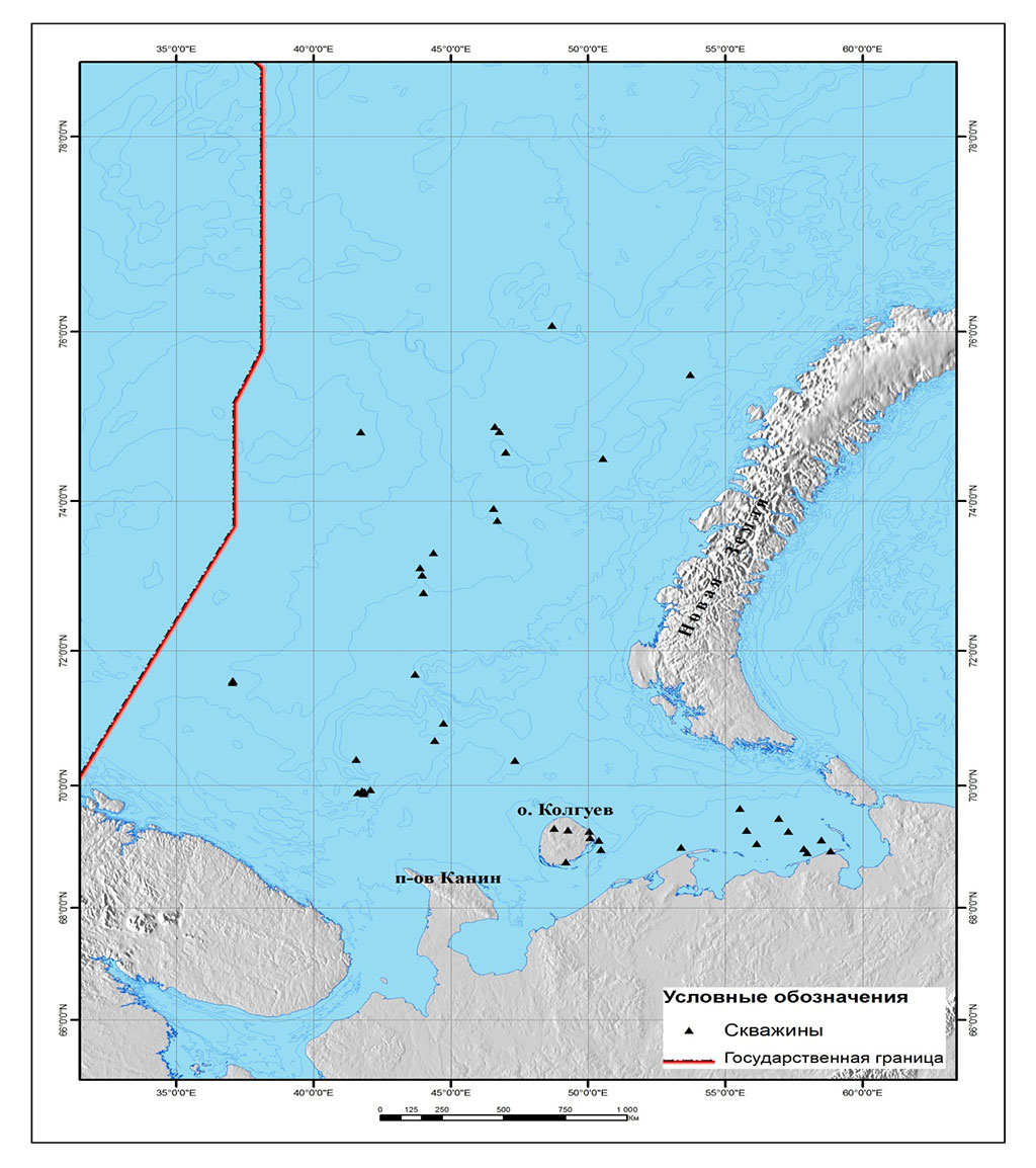 Figure 2.5.10a. The locations of the exploration wells in the Russian part of the Barents Sea