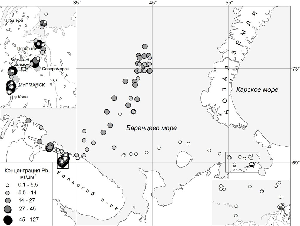 Figure 4.4.14a The concentration of the Pb (а) in sediments of the Russian part of Barents sea 2008-2012 (MMBI).