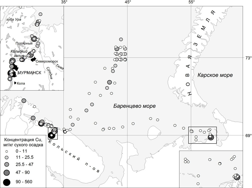 Figure 4.4.14b The concentration of the Cu (б) in sediments of the Russian part of Barents sea 2008-2012 (MMBI).
