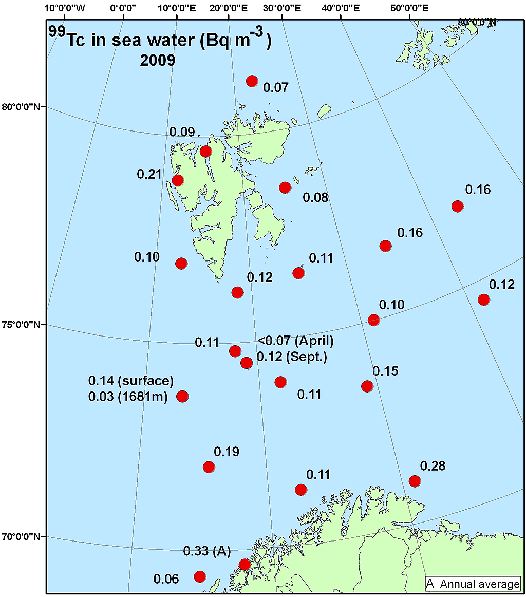 Figure 4.4.2.4a Activity concentration (Bq m-3) of 99Tc in surface water samples collected in the Barents Sea in 2008 (NRPA, 2011).