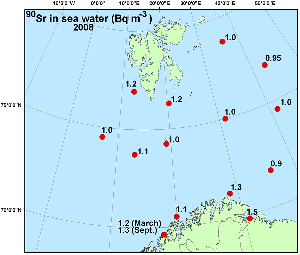 Figure 4.4.2.4b Activity concentration (Bq m-3)90Sr (b) in sea water samples collected in the Barents Sea in 2009 (NRPA, 2011).