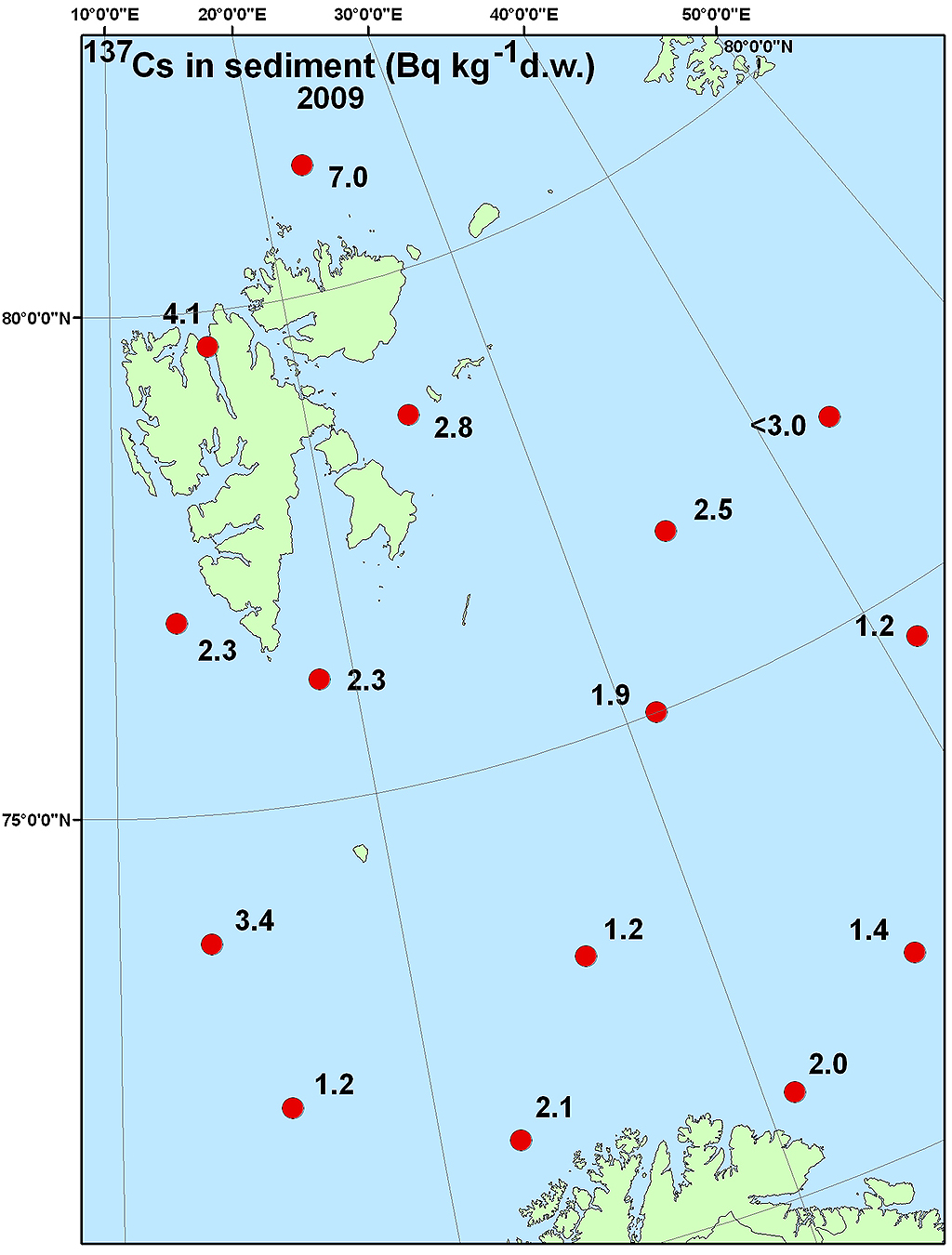 Figure 4.4.2.5a Activity concentration (Bq m-3) of 137Cs in surface water samples collected in the Barents Sea in 2009 (NRPA, 2011).