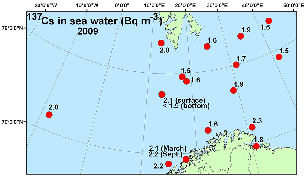 Figure 4.4.2.5b Activity concentration (Bq m-3) of 137Cs in surface water (a) and in sediment (Bq kg -1 d.w.)(b) samples collected in the Barents Sea in 2009 (NRPA, 2011).