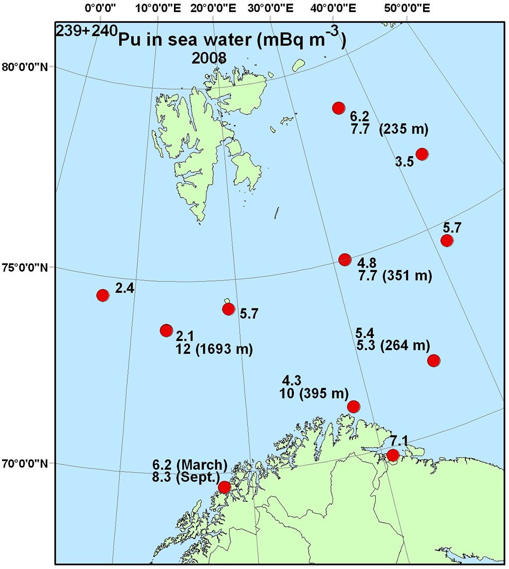 Figure 4.4.2.6a Activity concentration (mBq m-3) of 239+240Pu in surface water and (a) and 241Am in sea water (b) samples from the Barents Sea in 2008 (NRPA, 2011).