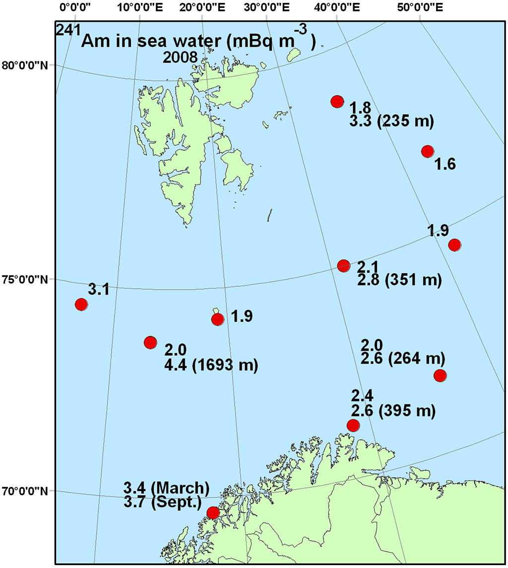Figure 4.4.2.6b Activity concentration (mBq m-3) of 239+240Pu in surface water and (a) and 241Am in sea water (b) samples from the Barents Sea in 2008 (NRPA, 2011).