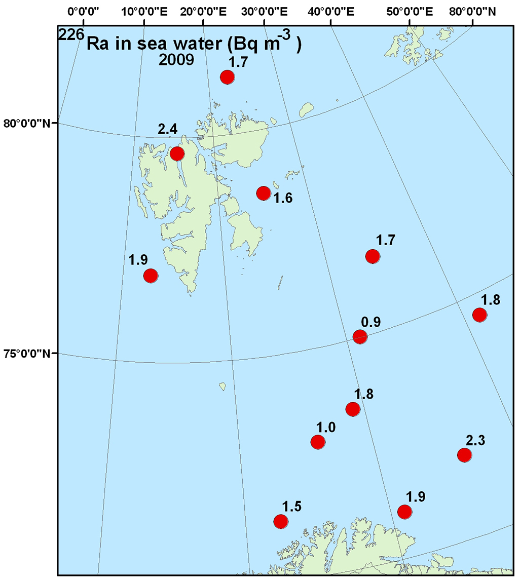 Figure 4.4.2.7 Activity concentration (Bq m-3) of 226Ra in surface water from the Barents Sea in 2009 (NRPA, 2011).