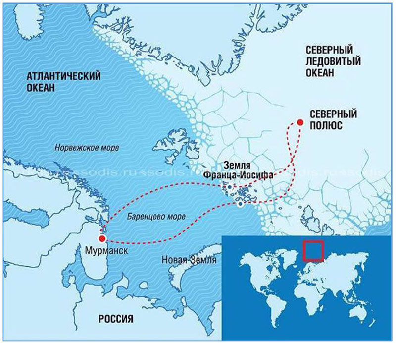 "Figure 4.4.28. Route of the nuclear icebreaker ""50 let Pobedy"" carrying tourists to the North Pole."