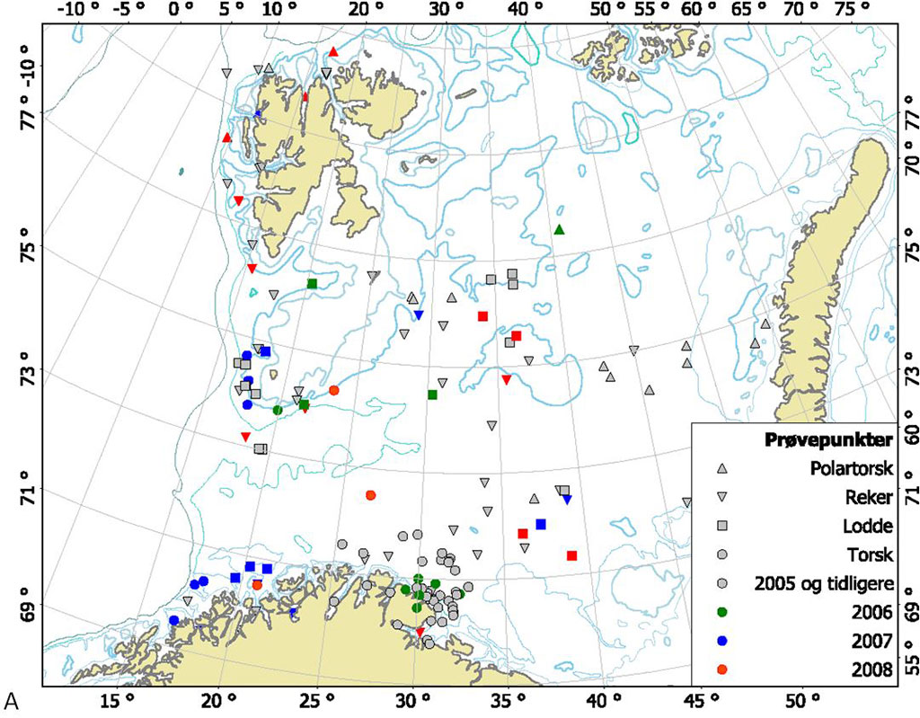 Figure 3.3.6 NIFES sampling stations for Polar cod, cod, shrimp and capelin 2008 and earlier.