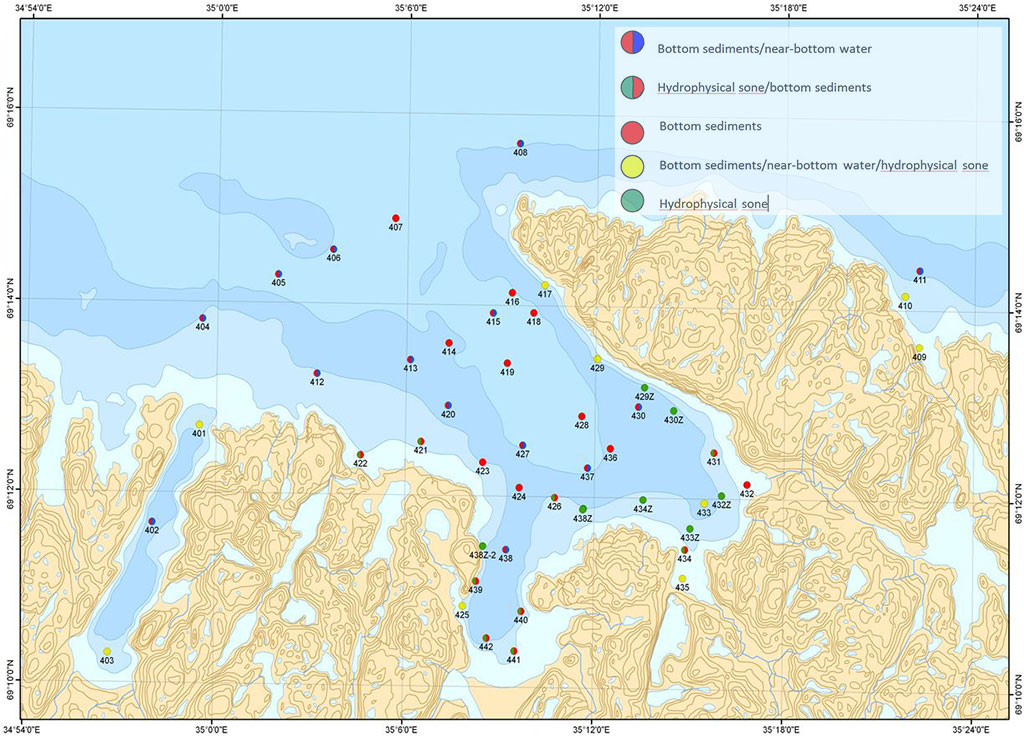 Figure 3.3.7 Sevmorgeo sampling stations in 2014 in the Teriberka Bay/Type of sampling: