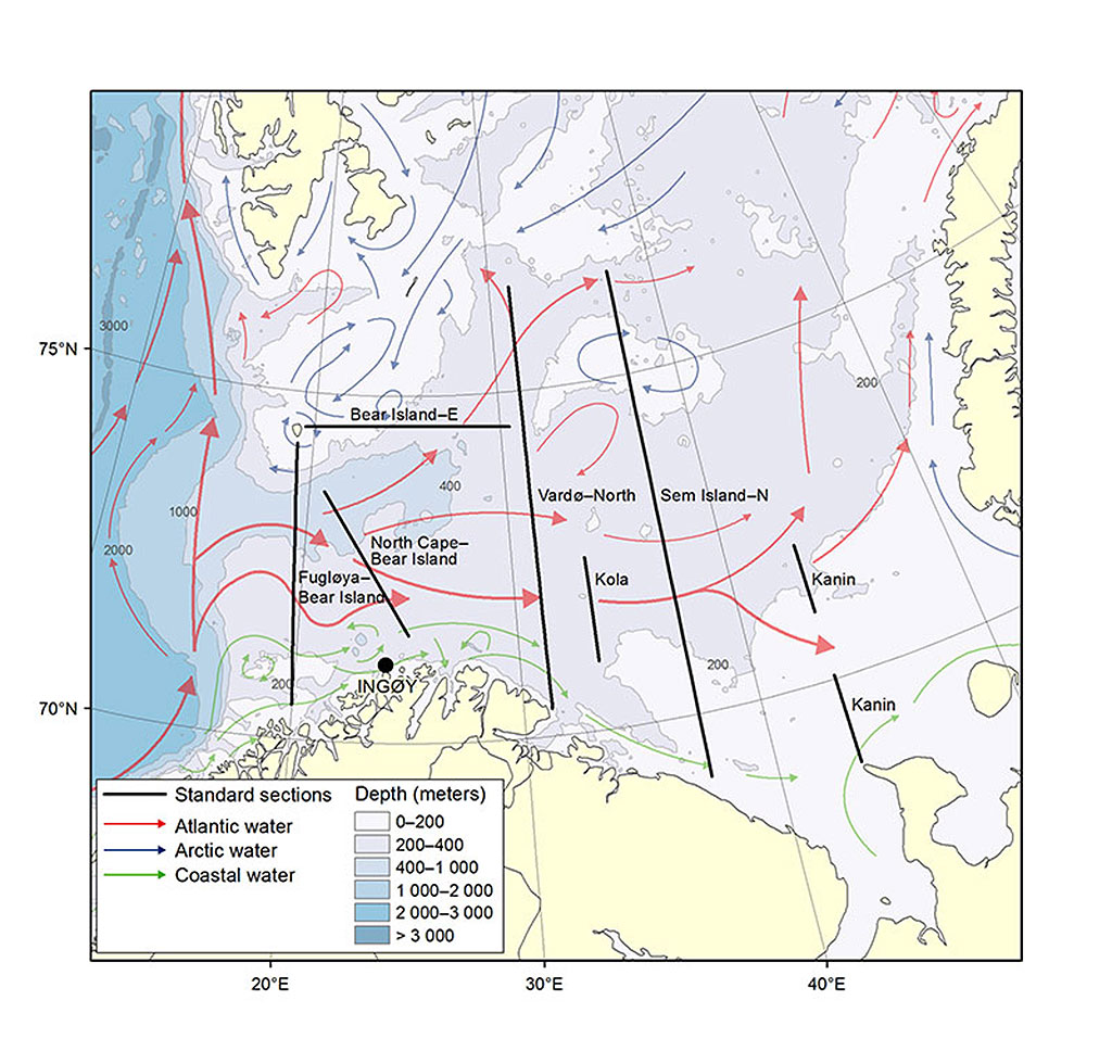 Figure 3.2.1. Positions of the standard sections monitored in the Barents Sea. A  is fixed station Ingøy, B is Fugløya-BearIsland, C is North cape-Bear Island, D is Vardø-North, E is Kola, F is Sem Island-North G  is Kanin section and H is Bear Island-East section.
