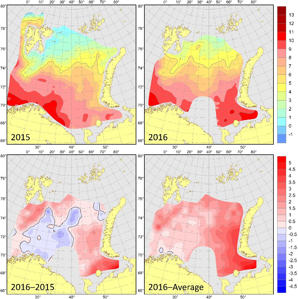 Figure 3.1.10. Surface temperatures (°C) in August–September 2015 (upper left) and 2016 (upper right), their differences between 2016 and 2015 (lower left, °C) and anomalies in August–September 2016 (lower right, °C).