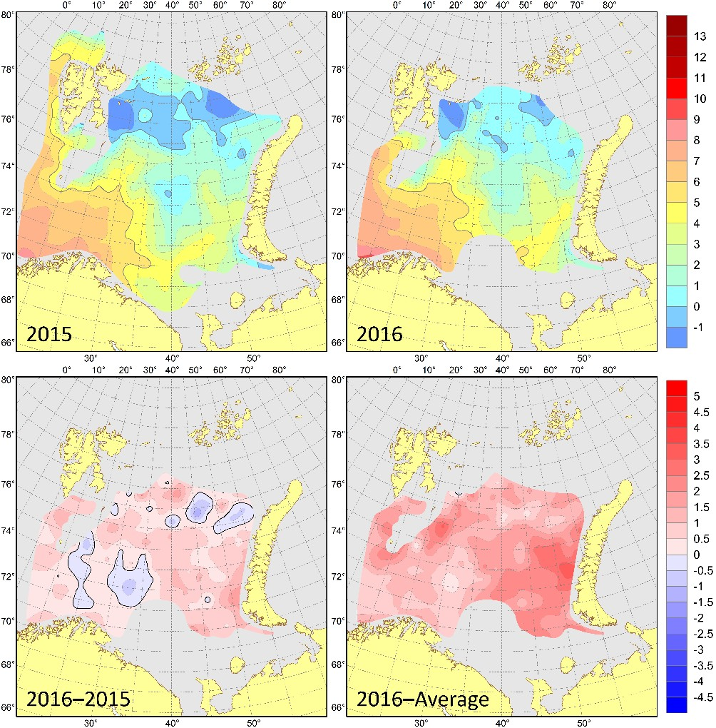 Figure 3.1.11. 100 m depth temperatures (°C) in August–September 2015 (upper left) and 2016 (upper right), their differences between 2016 and 2015 (lower left, °C) and anomalies in August–September 2016 (lower right, °C).