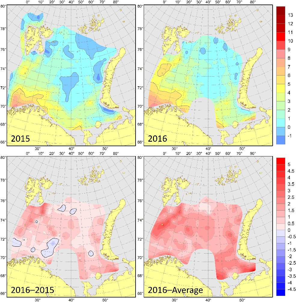 Figure 3.1.12. Bottom temperatures (°C) in August–September 2015 (upper left) and 2016 (upper right), their differences between 2016 and 2015 (lower left, °C) and anomalies in August–September 2016 (lower right, °C).