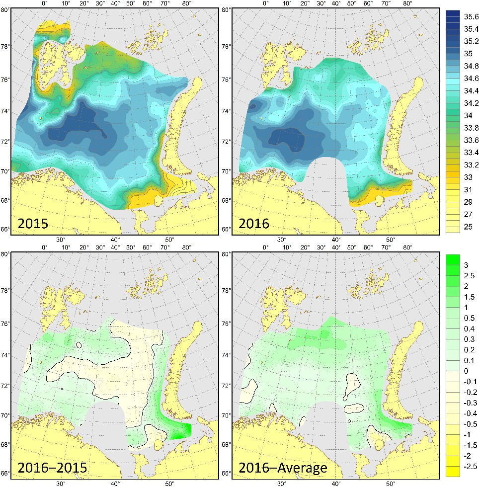 Figure 3.1.13. Surface salinities in August–September 2015 (upper left) and 2016 (upper right), their differences between 2016 and 2015 (lower left) and anomalies in August–September 2016 (lower right).