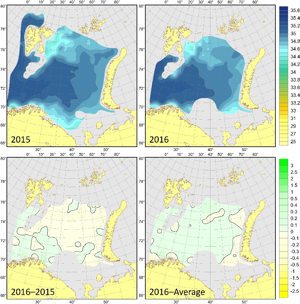 Figure 3.1.14. 100 m salinities in August–September 2015 (upper left) and 2016 (upper right), their differences between 2016 and 2015 (lower left) and anomalies in August–September 2016 (lower right).