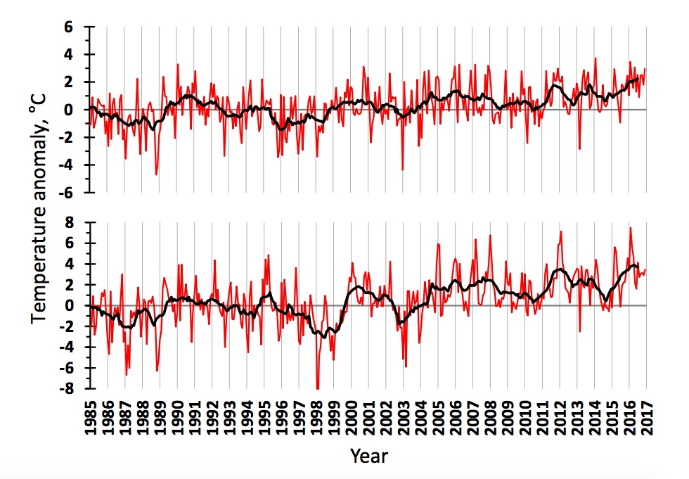 Figure 3.1.2. Air temperature anomalies in the western (upper) and eastern (lower) Barents Sea in 1985–2016. The red line shows monthly values, the black one – 11-month running means.