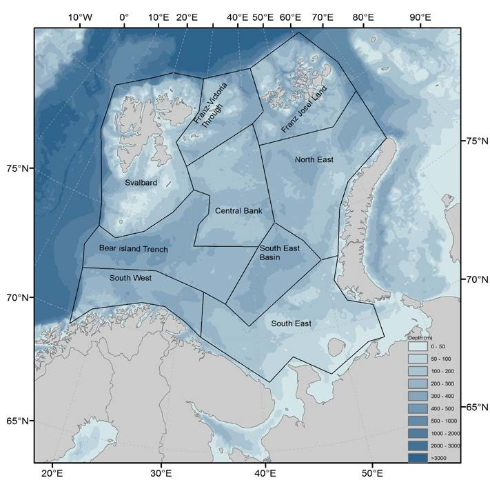 Figure 3.2.3 Polygon regions in the Barents Sea. Note that two of the polygons (Central Bank and Bear Island Trench) are additional divided in the Zooplankton work: Central Bank is further divided into two regions (Great and Central Banks) and Bear Island Trench into three (Bear Island Trench, Hopen Deep and Thor Iversen Bank).