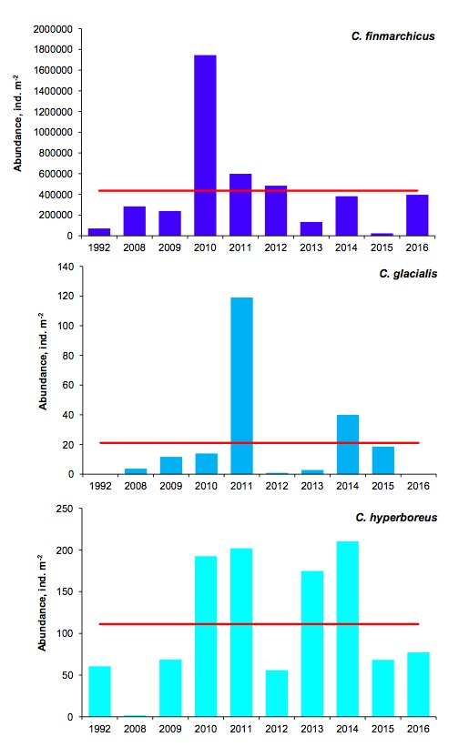 Figure 3.3.8. Interannual mean abundances of three copepod species along the Kola section in May/June in 1992 and 2008-2016, ind. m-2.