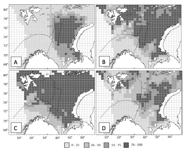 Figure 3.4.10. The probability of occurrence (%) of snow crab in the Barents Sea in 2010–2014 (A) and a forecast of the distribution if the water temperature stay at the long-term mean (В) in the case of temperature decrease of 1°C (C) and an increase of 1°C (Bakanev, 2016).