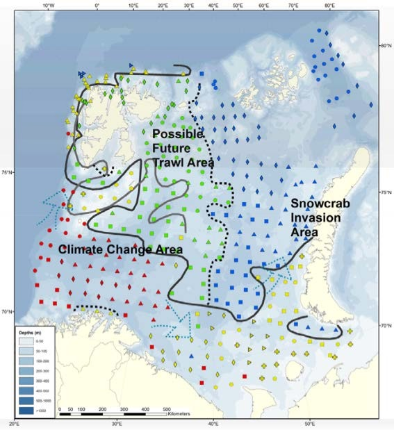"Figure 3.4.2. The baseline map of the Barents Sea mega-benthic zones in 2011, based on fauna similarity (see Jørgensen et al., 2015a for methodology, results and discussion) with the northern (green and blue) and southern (yellow and red) region where the black full line is illustrating the ""benthic polar front"" in 2011. The grey full line is the approximately oceanographic Polar Front. Dotted line: Is partly illustrating a west-east division. Red: South West subregion (SW) Yellow: Southeast, banks and Svalbard coast (SEW). Green: North West and Svalbard fjords (NW). Blue: North East (NE). Source: IMR."