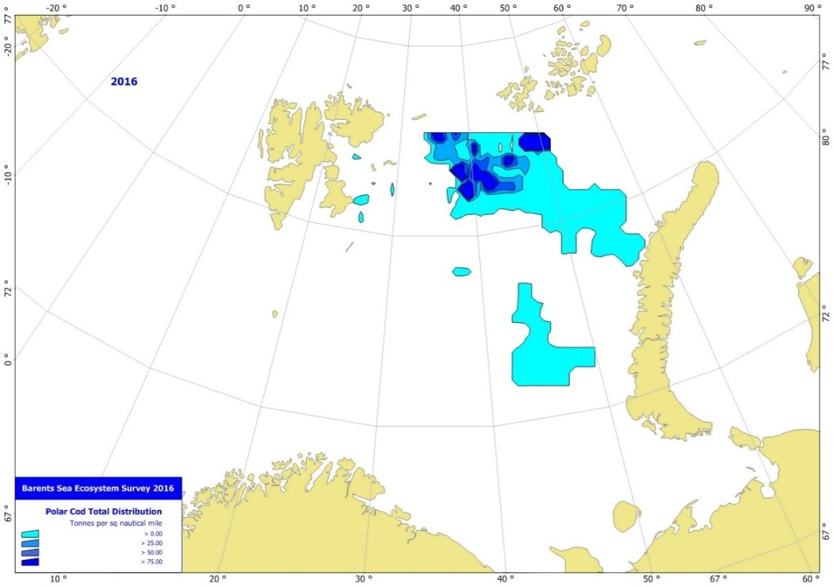 Figure 3.5.12. Estimated total density distribution of polar cod (t/sq nautical mile), August-October 2016.