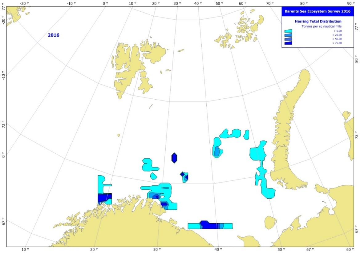 Figure 3.5.9. Estimated total density distribution of herring (t/nautical mile2). August-October 2016. Note that the survey coverage in the south central area was not complete.