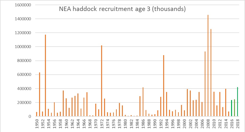 Figure 3.6.8 Recruitment of haddock (ICES 2016c)