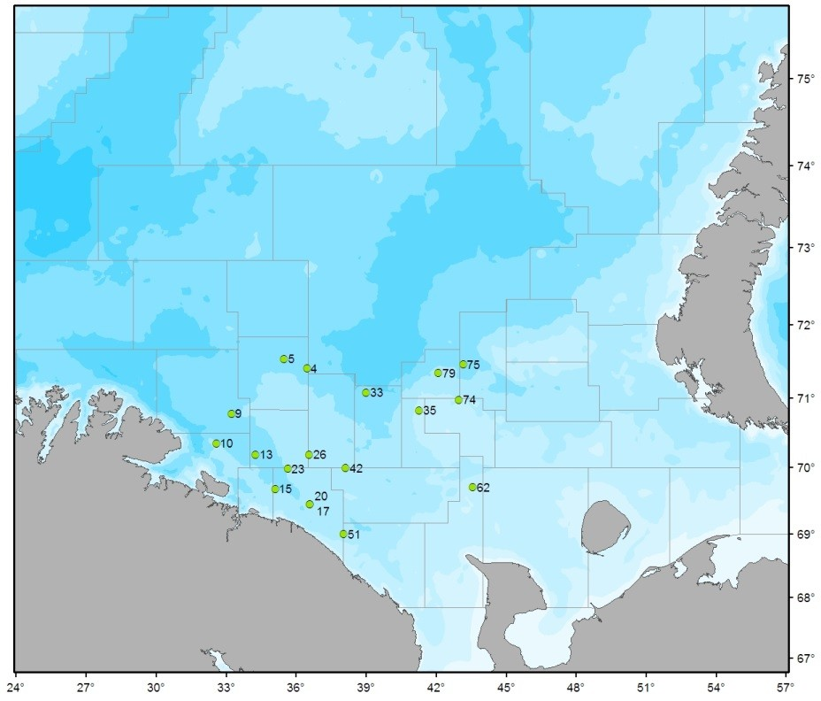 Figure 3.9.6.1b. PINROs sampling stations for fish in 2016.