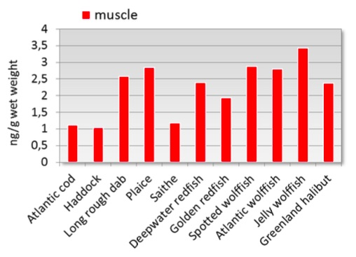 Figure 3.9.6.6a. Average concentrations of hexachlorocyclohexane (HCH) in muscle of fish