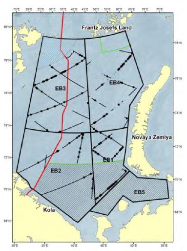 Figure 3.8.1.1. The survey area summer 2017. Black lines are transects conducted in primary search mode and black dots are minke whale sightings.