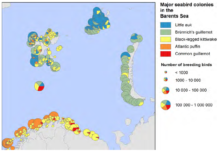 Figure 3.8.2.1. Major seabird colonies in the Barents Sea. Data compiled from SEAPOP (www.seapop.no), Fauchald et al. (2015), Anker-Nilssen et al. 2000 and The Seabird Colony Registry of the Barents and White Seas.