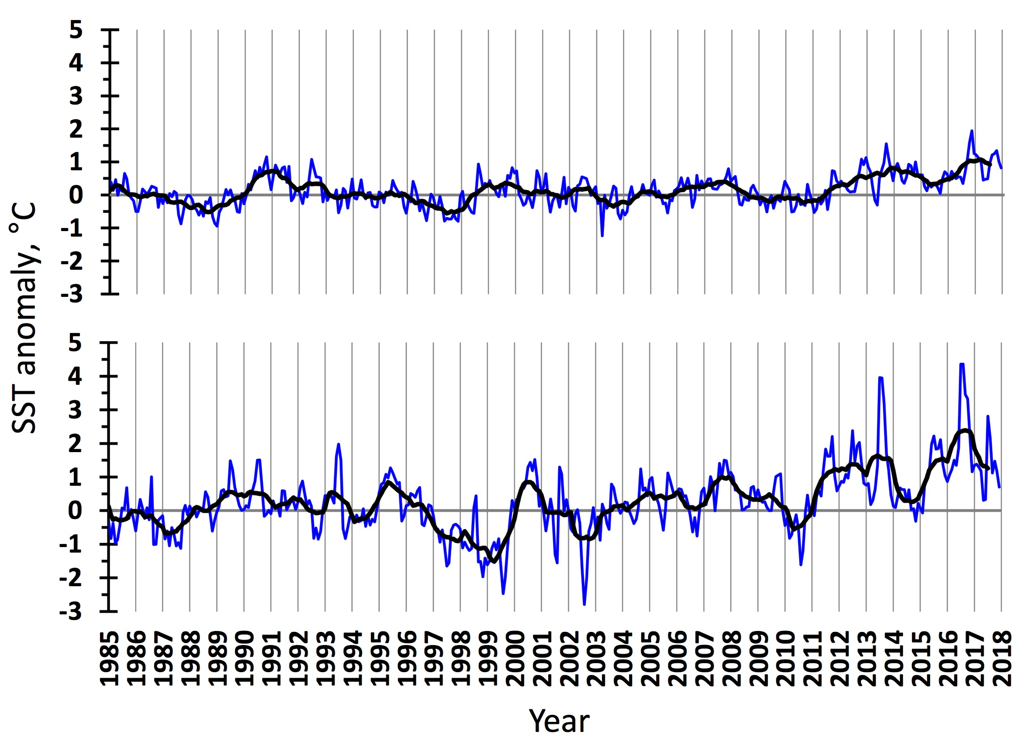 Figure 3.1.8. Sea surface temperature anomalies in the western (upper) and eastern (lower) Barents Sea in 1985–2017. The blue line shows monthly values, the black one – 11-month running means.
