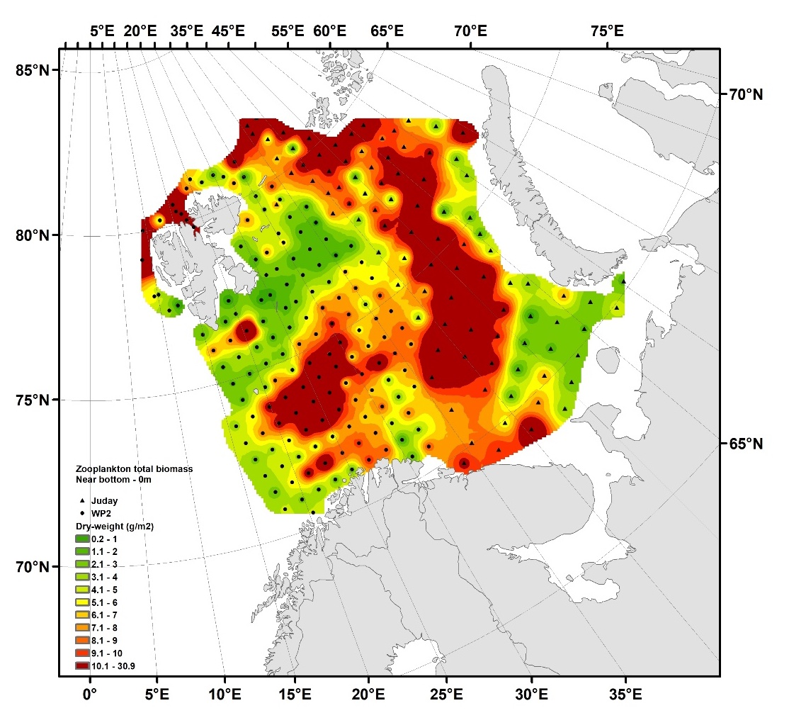 Figure 3.3.1. Distribution of total zooplankton biomass (dry weight, g m-2) from near bottom - 0 m in autumn 2017. Data based on 247 samples obtained during the joint Norwegian-Russian (IMR-PINRO) ecosystem survey in late August – mid-October. Interpolation made in ArcGIS v.10.3, module Spatial Analyst, using inverse data weighting (default settings).