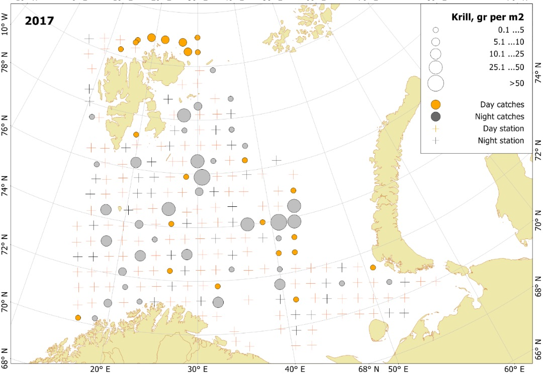 Figure 3.3.10. Krill distribution based on pelagic trawl stations covering the upper water layers (0-60 m) in the Barents Sea in August-October 2017.