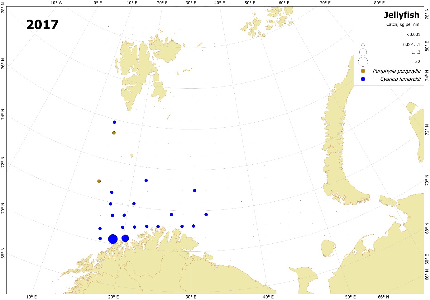 Figure 3.3.15. Distribution and catches (wet weight; kg per nmi) of Cyanea lamarckii and Periphylla periphylla in the Barents Sea, August-October 2017. Catches both day and night from standard pelagic trawl in the upper 0-60 m layer.