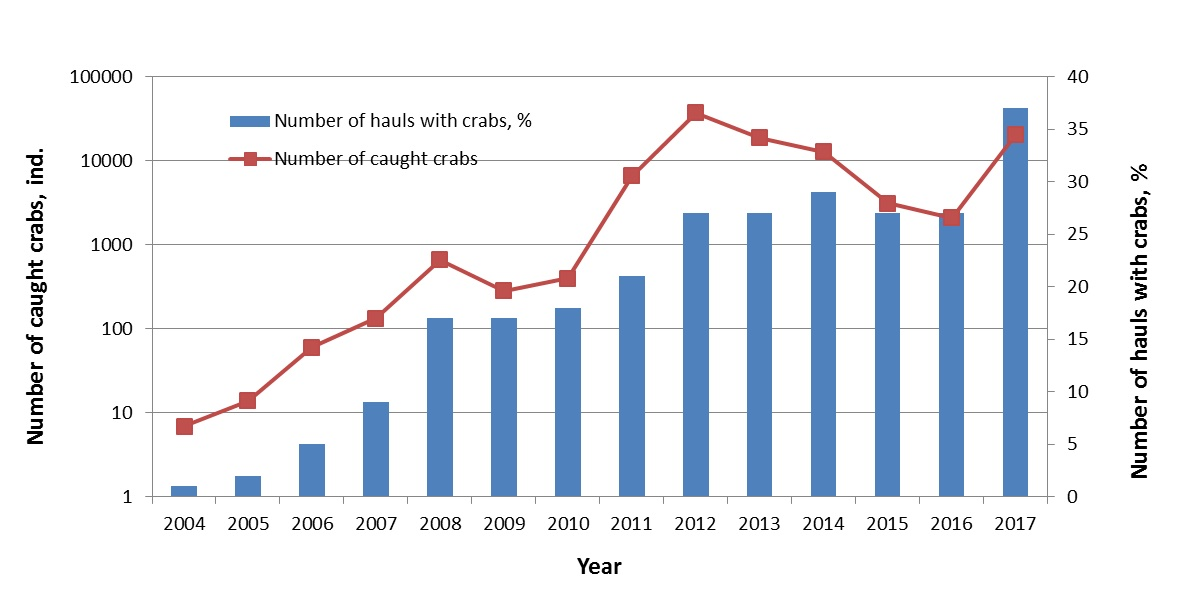 Figure 3.4.9. The dynamic of the snow crab population in the Barents Sea given as the total number of crabs (blue bars) and the number of trawl hauls with crabs (red line) during the Ecosystem Survey 2004-2017.